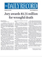 The Daily Record - Verdict Awards $2.8 Million In Suit Against Doctor, Hospital