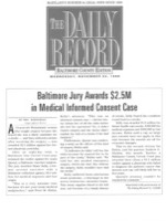 The Daily Record - Baltimore Jury Awards $2.5 Million in Medical Informed Consent Case