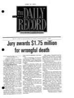 The Daily Record - Jury Awards $1.75 Million For Wrongful Death