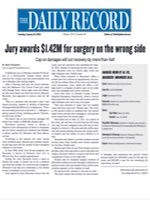 The Daily Record - Jury Awards $1.42M For Surgery On The Wrong Side